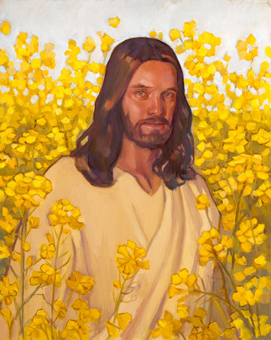 Portrait of Jesus standing in a field of blooming yellow flowers.