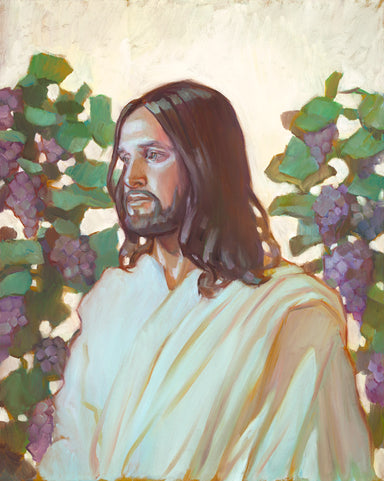 Jesus Christ standing in front of grape vines.
