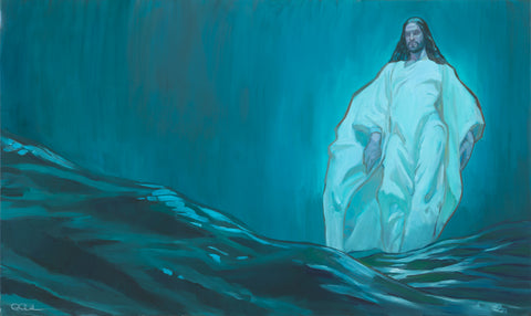 Jesus walking on water.