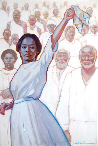 Women waiving handkerchief with her ancestors in white behind her.