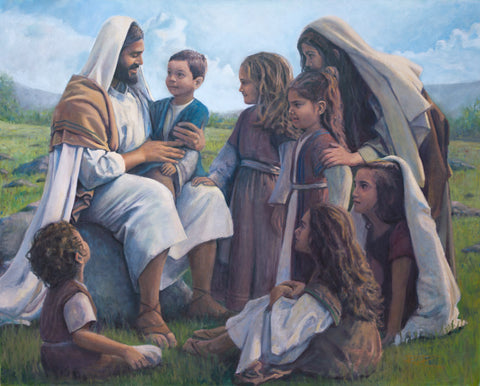 Jesus Christ surrounded by children.