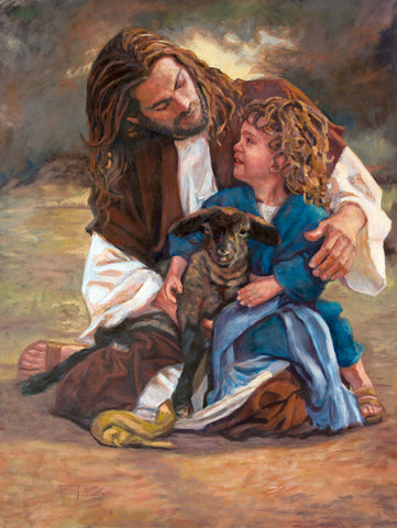 Jesus with a young child and sheep.