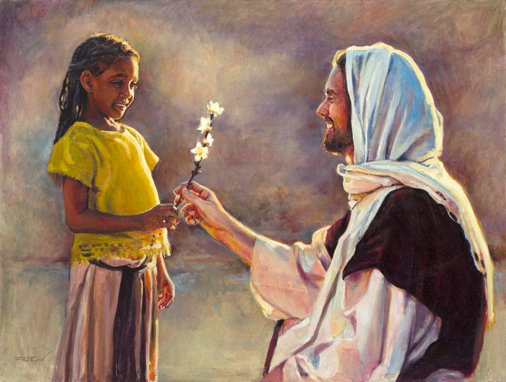 A little girl handing a flower to Jesus.