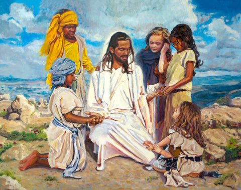 Jesus Christ showing his hands to a small group of children.