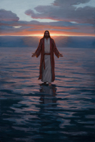 Jesus standing on calm water at sunset.