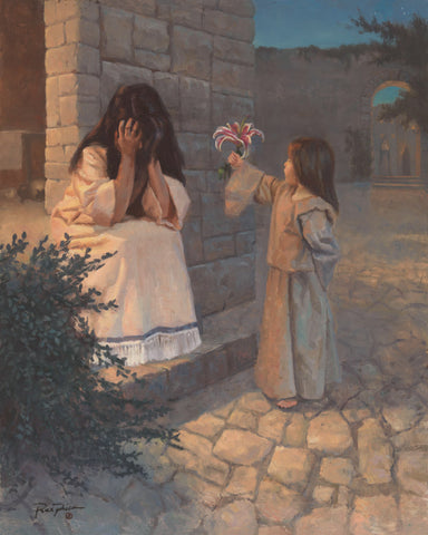 Small child presenting mother with a flower.