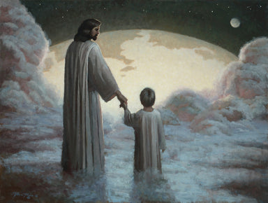 Heavenly father holding hands with young boy looking down at earth.