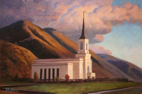 Painting of the Star Valley Wyoming Temple at sunset.