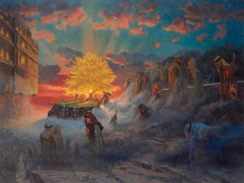 Depiction of the prophet Lehi's dream of the tree of life and iron rod.