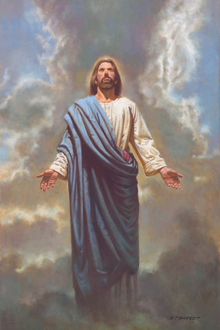 Jesus Christ in blue robe standing in the clouds.