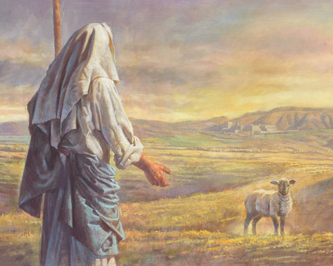 Parable of the lost sheep, Jesus as shepherd with sheep.