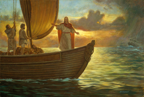 Jesus on a boat with apostles stilling the storm and the seas.