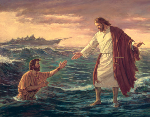 Jesus helping Peter out of the water after he doubted his faith.