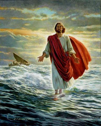 Jesus Christ walking on water with boat in the background.