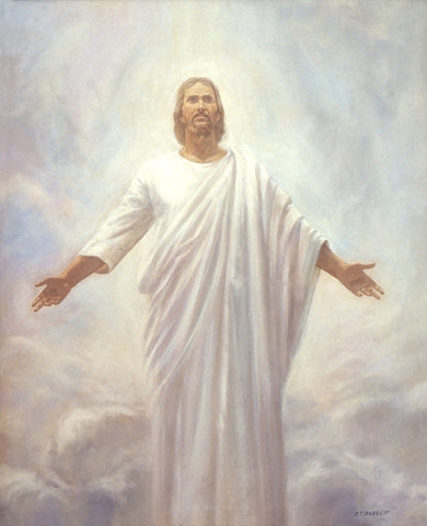 Jesus dressed in white surrounded by clouds after he was resurrected.