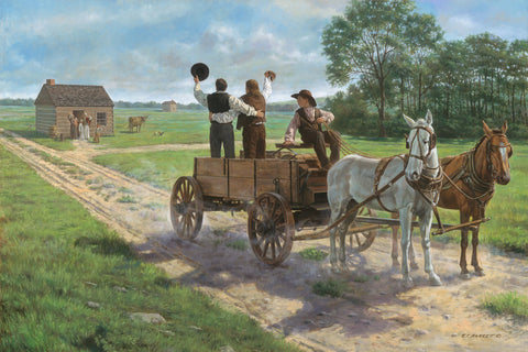 Heber C. Kimball, Brigham Young and Orson F. Whitney shout from a wagon.