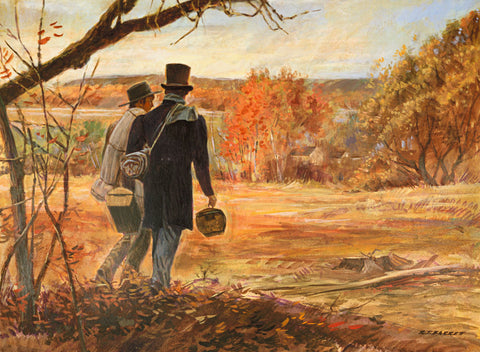 Two early saints as missionaries walk in a valley in the fall spreading the word of the gospel.