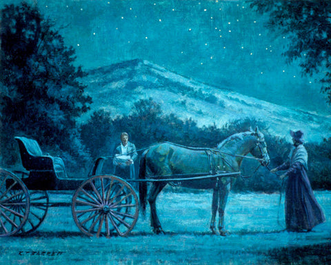 Emma Smith waits at a wagon as Joseph fetches the gold plates from the Hill Cumora.