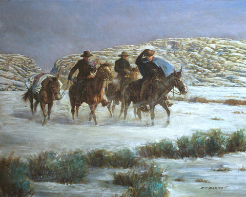 A team of men on horses searching for the lost Martin Company on the wintery plains.