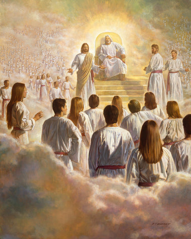 The grand Council in the spirit world with Heavenly father and Jesus Christ.