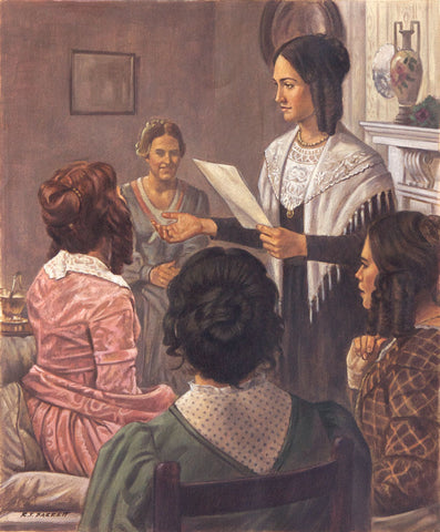 Emma Smith standing and reading surrounded by latter day saint women.