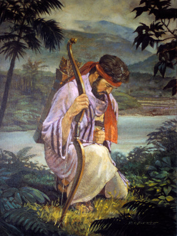 The prophet Enos from the Book of Mormon kneeling in prayer.