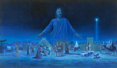 People around the world witnessing the star of Bethlehem, the sign of Christ birth.