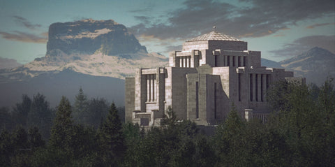 Cardston Temple by Simon Dewey