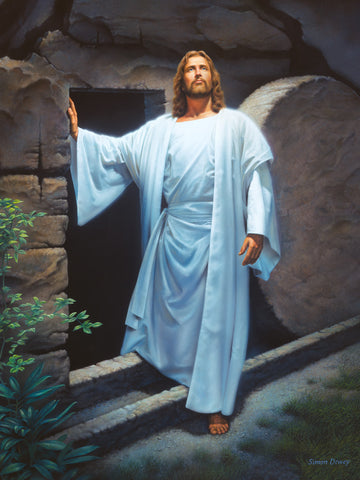Resurrected Christ emerging from the tomb with the stone rolled away.