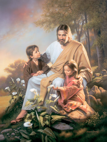 Jesus sitting with a boy and a girl with white lilies in the foreground.