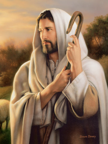 Portrait of Jesus as the good shepherd, holding a shepherds staff.
