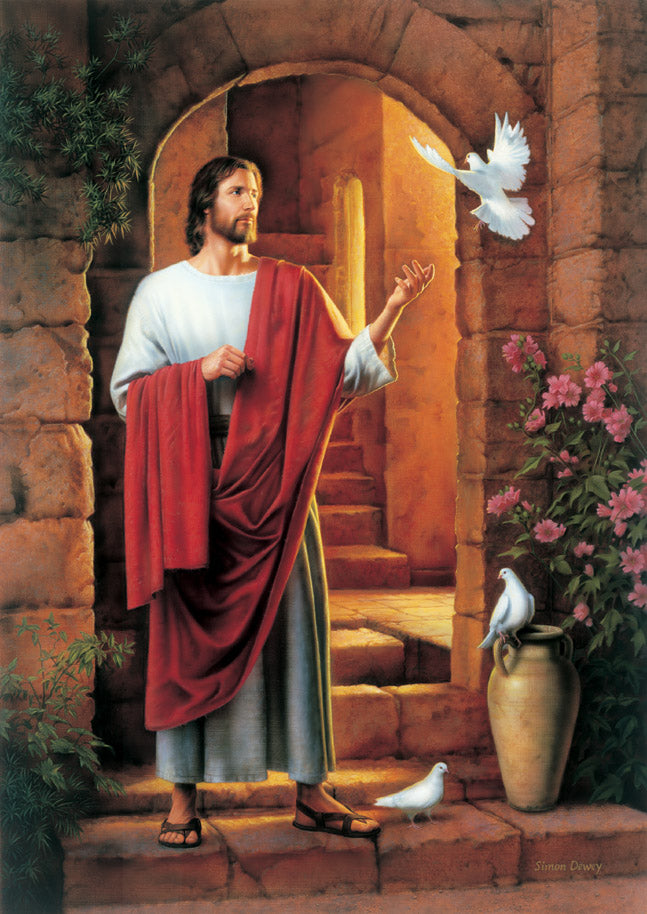 Christ standing in a doorway with three doves in the foreground.