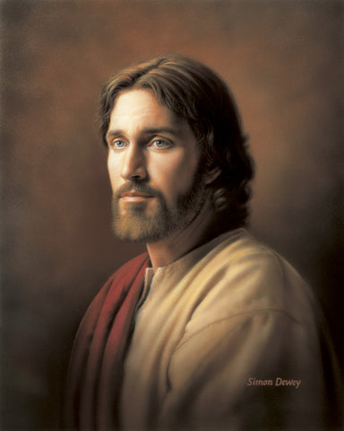 Simple portrait of Christ wearing a red robe and looking compassionate.