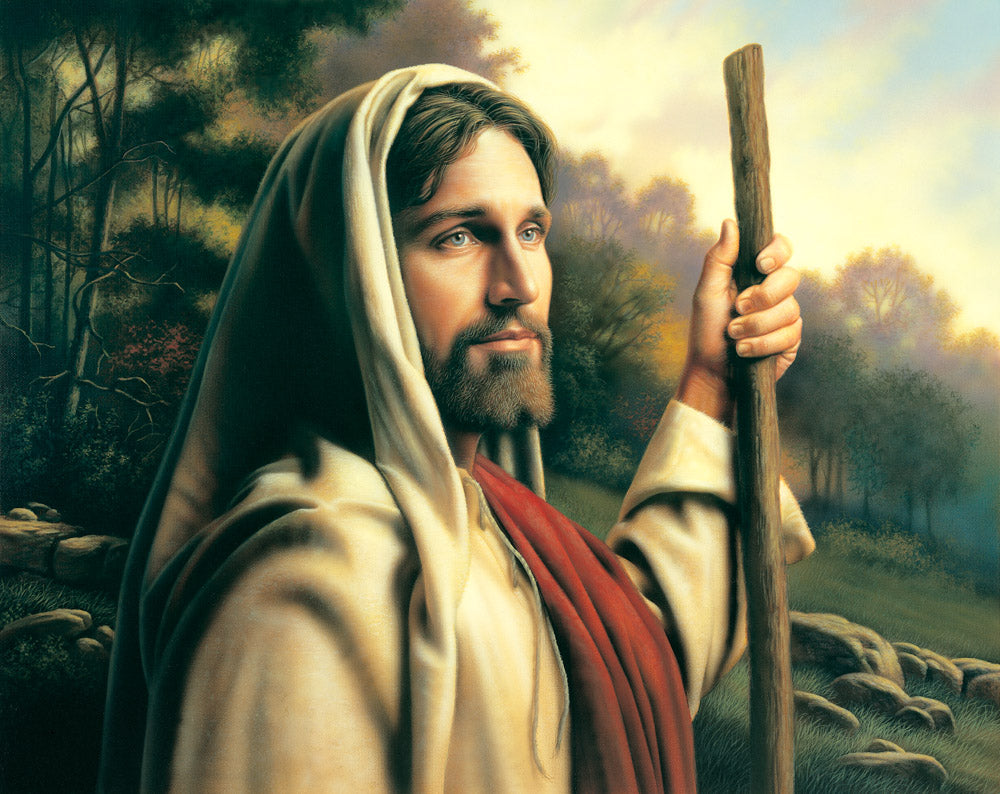 Jesus holding a staff and inviting us to follow him on the path.
