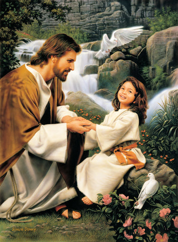 Jesus kneeling beside a girl with doves and a waterfall in the background.