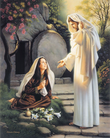 Resurrected Christ speaking with Mary at the tomb and comforting her.