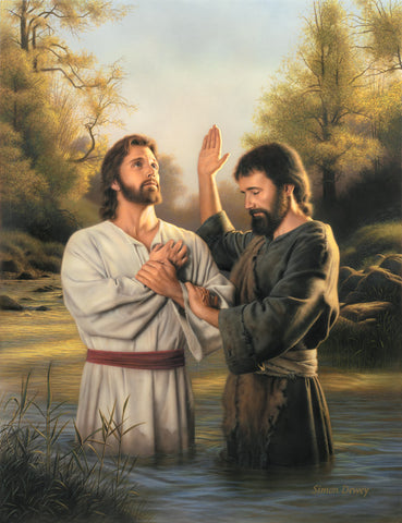 John the baptist preparing to baptize Jesus in the Jordan river.