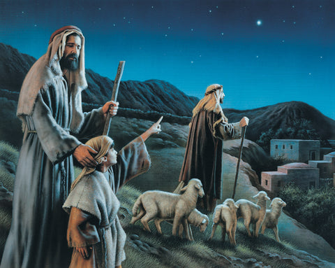 Shepherds from Luke 2 account of the nativity pointing at the new star.