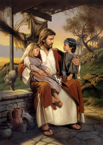 Jesus sitting with a boy and girl under a canopy teaching them.