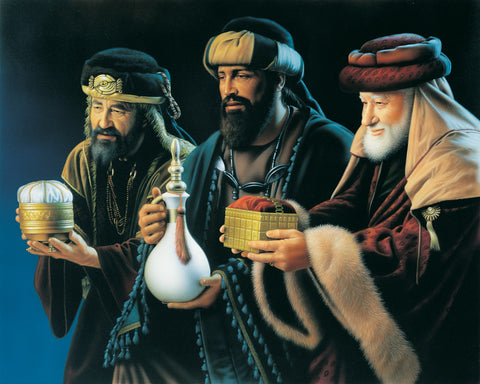 The three wise men from Luke's account presenting their gifts to the Savior.