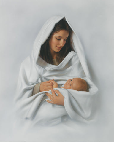 Mary and baby Jesus in white with a white background symbolizing purity.