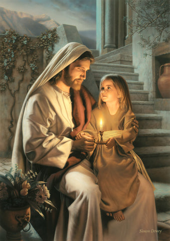 Jesus holding a girl and sharing a candle that is lighting their faces.