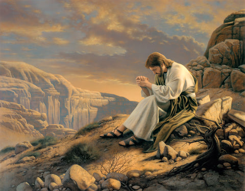 Christ praying in the wilderness as he prepares for his ministry.