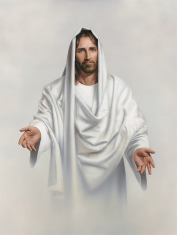Jesus dressed in white robes with his arms outstretched to welcome us.
