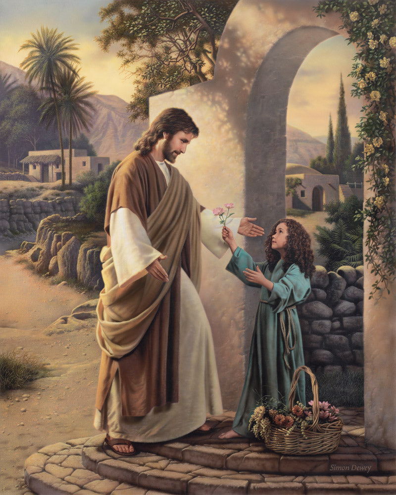A child presents flowers to Jesus who is standing with outstretched arms.