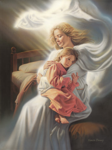 An angel sits on a bed comforting a little girl who is crying.