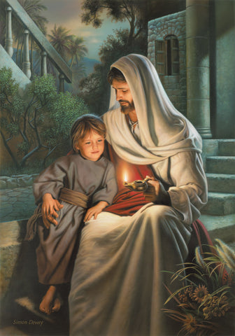 Jesus sitting with a boy and holding a lighted lamp as he teaches him.