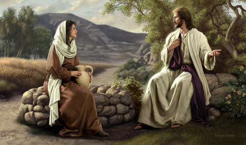 Christ sits by the well and teaches the Samaritan woman.