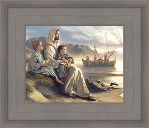 Men of Galilee - detail 13x15 framed strata design gray frame