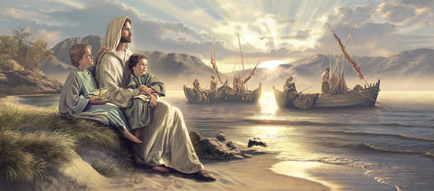 Jesus sits with boys beside the sea with fisherman and boats behind him.